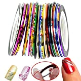30 Colors Multicolor Mixed Colors Rolls Striping Tape Line Nail Art Decoration Sticker DIY Nail Tip (Basic)
