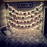 AOSTAR 20 LED Photos Clips String Lights (10ft. Warm White) Battery Operated Fairy String Lights for bedroom Hanging Photos, Cards and Artworks