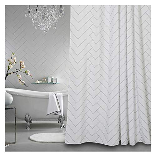 Aimjerry Hotel Quality White Striped Fabric Shower Curtain for Bathroom, 72 X 72 Inch