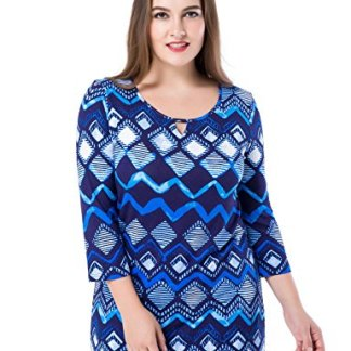 2f8aae32d4eea Chicwe Women s Plus Size Printed Tunic Top Notched Round Neck 3 4 Sleeves  US12-28