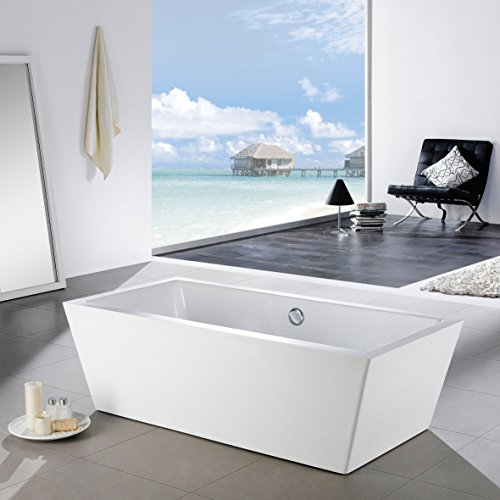 MAYKKE Alsen 59 Inches Modern Rectangle Acrylic Bathtub Freestanding White Tub In Bathroom 13 3 8 Water Depth 44 Gallons Capacity XDA1437001