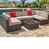 SUNCROWN Outdoor Sectional Sofa (7-Piece Set) Wicker Furniture w/Brown Washable Seat Cushions & Modern Glass Coffee Table | Patio, Backyard, Pool & Waterproof Cover, 7 Piece&Brown