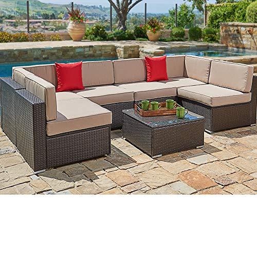 SUNCROWN Outdoor Patio Furniture Set (7-Piece Set) Brown Wicker Patio Sofa Set w/Brown Seat Cushions With YKK Zippers & Modern Glass Coffee Table | Patio, Backyard, Pool & Waterproof Cover