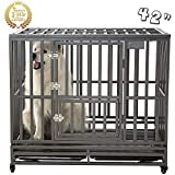 SMONTER 42' Heavy Duty Strong Metal Dog Cage Pet Kennel Crate Playpen Wheels,I Shape, Silver ... ...