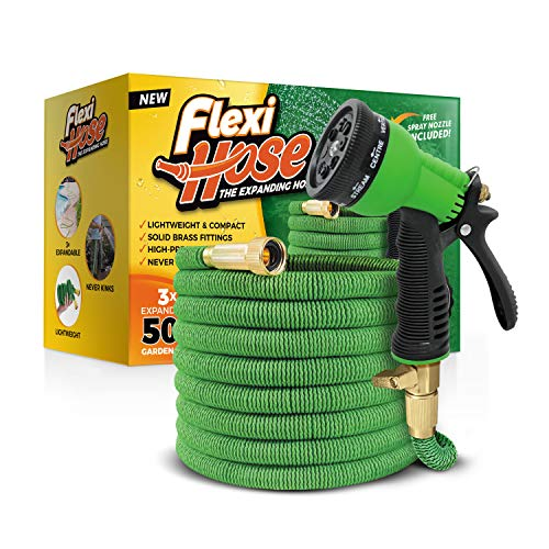 Flexi Hose Upgraded Expandable Garden Hose Extra Strength, 3/4' Solid Brass Fittings The Ultimate No-Kink Flexible Water Hose,8 Function Spray Included, Green