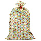 Hallmark Large Plastic Gift Bag for Baby Showers, New Parents and More (B is for Baby, Multicolor Dots)