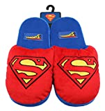 Superman Super Hero Cartoon Plush Slipper Mens Adult Red Blue DC Comics Large