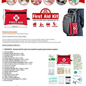 Mini-First-Aid-Kit92-Pieces-Small-First-Aid-Kit-Includes-Emergency-Foil-BlanketCPR-Face-MaskScissors-for-Travel-Home-Office-VehicleCamping-Workplace-Outdoor-Red