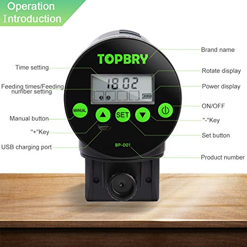 TOPBRY Automatic Fish Feeder,【Upgraded Version】 Digital Auto Fish Turtle Feeder for Aquarium and Fish Tank, USB Rechargeable Timer Fish Feeder Fish Food Dispenser 2