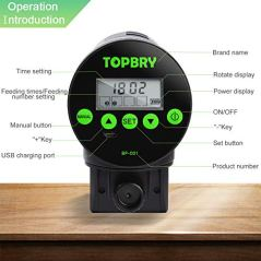 TOPBRY-Automatic-Fish-FeederUpgraded-Version-Digital-Auto-Fish-Turtle-Feeder-for-Aquarium-and-Fish-Tank-USB-Rechargeable-Timer-Fish-Feeder-Fish-Food-Dispenser