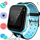 Smart Watches Phone for Boys Girls - Kids Water-Resistant Wrist Watch with Call SOS Voice Chat Camera Flashlight Alarm Sports Bands Gifts for Children Age 4-12 (02 S7 Blue)