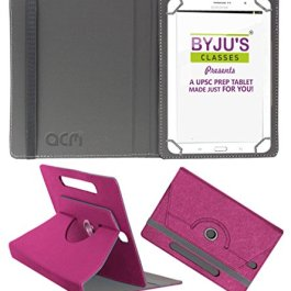 Acm Designer Rotating Leather Flip Case Compatible with Byju Learning Tab 10 Inch Cover Stand Dark Pink