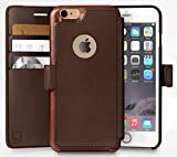 LUPA iPhone 6S Wallet case, iPhone 6 Wallet Case, Durable and Slim, Lightweight with Classic Design & Ultra-Strong Magnetic Closure, Faux Leather, Dark Brown, for Apple iPhone 6s/6