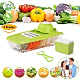 Mandoline Slicer Vegetable Grater Cutter Food Container with 5 Thickness Blades