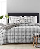 Martha Stewart Collection Cotton Reversible Plaid Mist Full Queen Quilt Grey