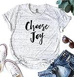 Choose Joy Thanksgiving T Shirt Womens Cute Christian Graphic Tee Funny Humble Shrot Sleeve Shirt Tops Size M (White)