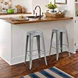 "Best Choice Products Home Set of 2 Modern Industrial Metal Bar Stools 30"""" Seat Height- Silver/Gray"