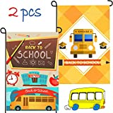 2 Pieces 12 x 18 Inches Back to School Bus Flags School Garden Flags Outdoor Yard Flags Decorative Flags for Garden Yard Lawn Party Decorations