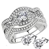 Stainless Steel Rings for Women Infinity Wedding Set Round CZ Cubic Zirconia Wedding Sets for Women Halo Engagement Rings for Women Bridal Jewelry Set 3 pcs Set (Choice of matching CZ stud earrings)