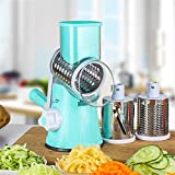 TTLIFE Round Mandoline Slicer/Mandoline Slicer/Stainless Steel Vegetable Chopper Vegetable Cutter Manual Potato Julienne Carrot Slicer Cheese Grater with 3 Blades Kitchen Tool-Blue