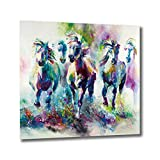 NewIdeas Art Horse Wall Decor for Bathroom and Living Room on Canvas with Wooden Frame Ready to Hang Waterproof Colorful Gift for Kids 15.7x15.7Inch