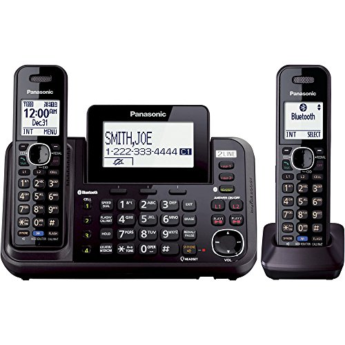 PANASONIC Link2Cell Cordless Phone Bluetooth Enabled with Answering Machine and 2 Phone lines - 2 Cordless Handsets - KX-TG9542B (Black)