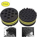 AIR TREE Big Holes Twists Curly Dread Lock Afro Coils Black Hair Twist Curl Curling Haircut Twisted Natural Hairstyle Magic Barber Sponge Brush for Curls Male Men Boy Women Hairstyles(2 PCS)-NO.16
