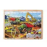 Melissa & Doug Construction Vehicles Building Site Wooden Jigsaw Puzzle (Beautiful Original Artwork, Sturdy Cardboard Pieces, 48 Pieces)