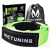 MICTUNING Recovery Tow Strap 3 Inch x 20 Ft - Heavy Duty 39670lbs Strength, Triple Reinforced Loops and Protective Sleeves, Free Storage Bag