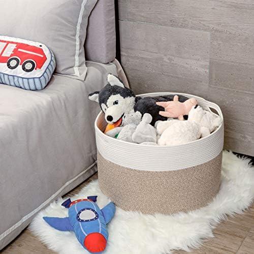 Mintwood Design Extra Large 22 x14 Inches Decorative Woven Cotton Rope Basket, Laundry Basket, Blanket Basket, Baby and Dog Toy Storage Baskets Bin, Kid Laundry Hamper, Towel Basket