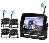 Wireless Backup Camera with Monitor System Split Screen for RV Rearview Reversing Back Camera No Interface IP69 Waterproof + Big 7'' Wireless Monitor for Truck Trailer Heavy Box Truck Motorhome …