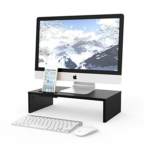 1home Wood Monitor Stand Arm Riser Desk Storage Organizer, Speaker TV Laptop Printer Stand with Cellphone Holder