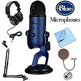 BLUE MICROPHONES Yeti USB Microphone Midnight Blue (Yeti Midnight Blue) + Professional Headphones + Suspension Boom Scissor Arm Stand + Microphone Wind Screen + Mic Stand Adapter + MicroFiber Cloth