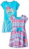 Nickelodeon Girls' Little Shimmer and Shine 2 Pack Dress, Pink/Teal, 4
