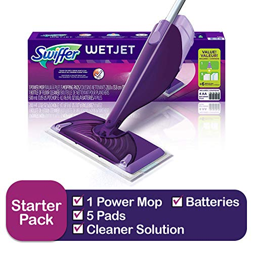 Swiffer Wetjet Hardwood & floor Spray Mop Cleaner Starter Kit, Includes: 1 Power Mop, 5 Pads, Cleaner Solution, Batteries