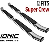Ionic 5' Railway Chrome (Fits) 2015-2019 Ford F150 SuperCrew and (Fits) 2017-2019 Ford Super Duty Crew Cab Truck Side Steps Running Boards