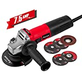 Avid Power Angle Grinder 7.5-Amp 4-1/2 inch with 2 Grinding Wheels, 2 Cutting Wheels, Flap Disc and Auxiliary Handle