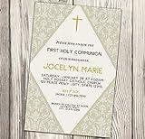 First Holy Communion Invitation - Diamond - Gold - Cream - Christening Invite - 4x6