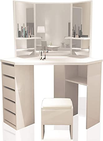 Xjllove Corner Dressing Table Arielle White Makeup Desk Dresser Mirror 83 38 24 Amazon Co Uk Kitchen Home