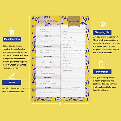 """Oriday Weekly Magnetic Meal Planner Notepad with Tear Off Perforated Grocery Shopping List Checklist for Fridge Door, Kitchen - 52 Sheets, 6"""" X 9"""" - Perfect for Weekly Diet Prep (Menu Planning Pad) 7"""
