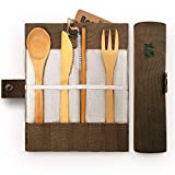 Bambaw Bamboo Cutlery Set | Travel Cutlery Set | Eco Friendly Flatware Set | Knife, Fork, Spoon and Straw| Wooden Cutlery Set | Camping Cutlery Set with Travel Pouch |Olive| 7.9 Inch