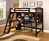 Furniture of America Williams Home Furnishing CM-BK263-BED Hayden Twin Loft Bed in Brown Finish