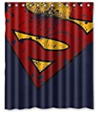 "PRANO Marvel Comic Hero Superman Logo Badges Brown Unique Design Shower Curtain,60""(w) x 72""(h)"