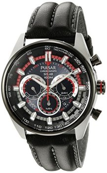 Pulsar Men's PX5031 Solar Chronograph Analog Display Japanese Quartz Black Watch