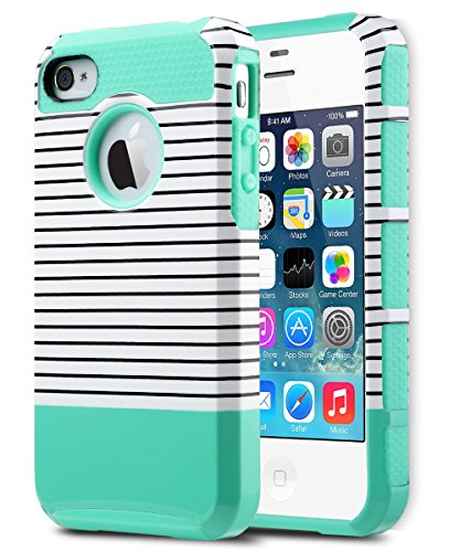 ULAK iPhone 4S Case,iPhone 4 Case, Dual Layer Hybrid Slim Hard Case for iPhone 4S & iPhone 4 with Hard PC Cover and Soft Inner TPU (Minimal Mint Stripes)