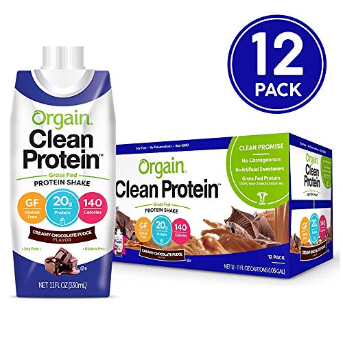 Orgain Grass Fed Clean Protein Shake, Creamy Chocolate Fudge - Meal Replacement, Ready to Drink, Gluten Free, Soy Free, Kosher, Non-GMO, 11 Ounce, 12 Count