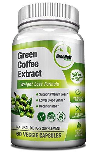 GreeNatr Premium Pure Green Coffee Bean Extract | Weight Management Pills, Appetite Suppressant, Energy Pills, Blood Sugar Control Support | 60 Capsules, Gluten-Free, Non-GMO, 50% Chlorogenic Acids