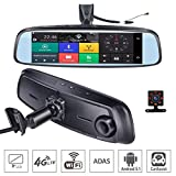ShiZhen 8 inch 4G Touch IPS Special Car Dash Cam Rear View Reversing Mirror with GPS Bluetooth WiFi Android 5.1 Dual Lens FHD 1080P