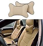 Icegirl 2pcs Universal Leather Car Seat Pillow Breathable Car Auto Head Neck Rest Cushion Headrest Pillow Pad (Beige)