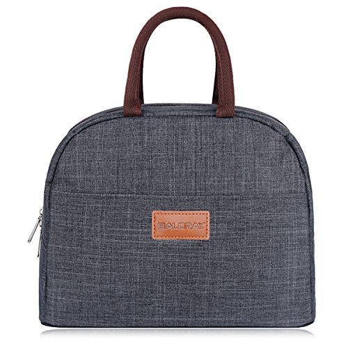BALORAY Lunch Bag Tote Bag Lunch Organizer Lunch Holder Insulated Lunch Cooler Bag for Women/Men (Grey)